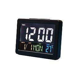 HJsheng Modern Fashion Home LED Digital Desk Clock - Bedside Large Screen LED Alarm Clock with Date, Temperature (Black)