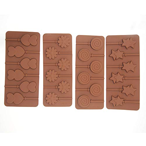 Lushagina Set of 4 Silicone Lollipop Mold 6 Cavity Holes Chocolate Mold, Double Star, Hearts, Flower, Swirl