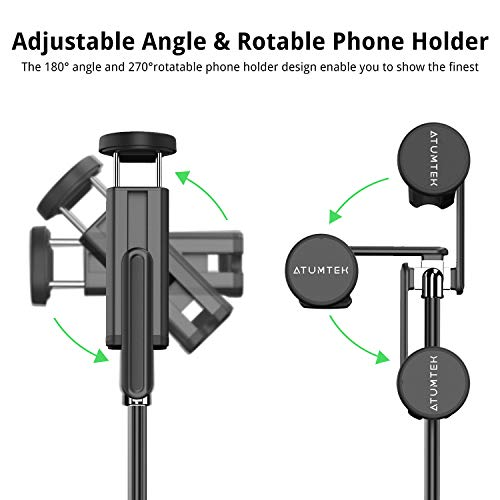 ATUMTEK Bluetooth Selfie Stick Tripod, Mini Extendable 3 in 1 Aluminum Selfie Stick with Wireless Remote and Tripod… 3