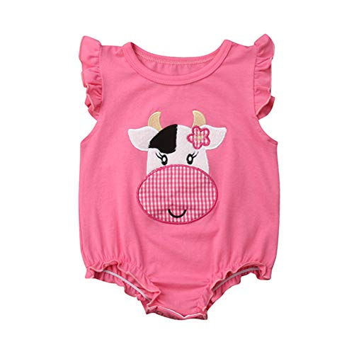 DuAnyozu Newborn Infant Baby Girl Cow Print Romper Jumpsuit Ruffle Sleeveless Bodysuit Outfit Shirts Summer Clothes 6-12 Months Pink