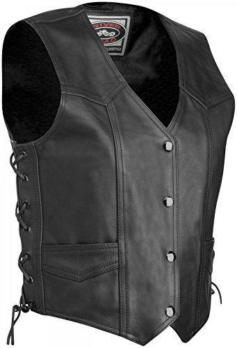 River Road Plain Leather Vest - 50/Black
