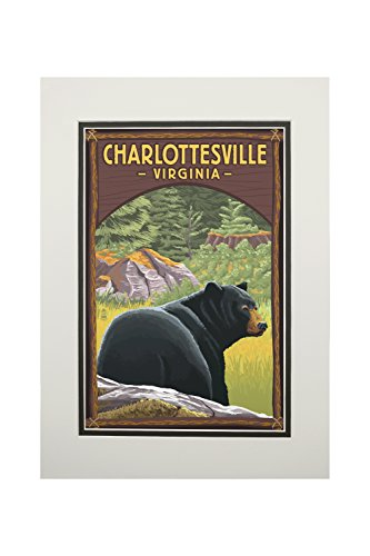 Charlottesville, Virginia - Black Bear in Forest (11x14 Double-Matted Art Print, Wall Decor Ready to Frame)