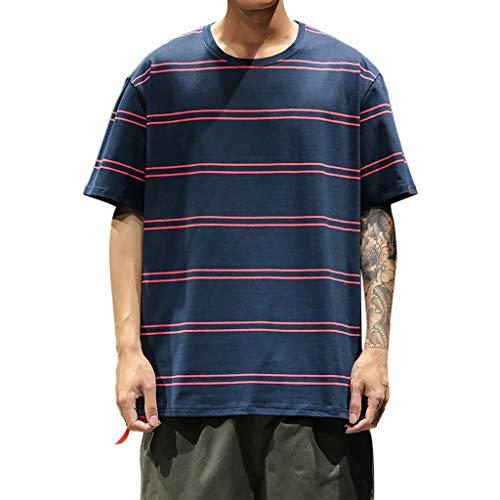 Beautyfine Men's Fashion T-Shirts Striped Short-Sleeved Summer Blouse Top Navy
