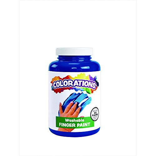 (Colorations Washable Finger Paints, 16 fl oz, Blue, Non-Toxic, Creamy, Vibrant, Kids Paint, Craft, Hobby, Fun, Art Supplies, Young Kids, Finger Painting, Hand Painting)