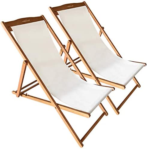 Beach Sling Chair Set Patio Lounge Chair Patio Furniture Outdoor Reclining Beach Chair Wooden Folding Adjustable Frame Solid Eucalyptus Wood with White Polyester Canvas 3 Level Height Portable 2 Set