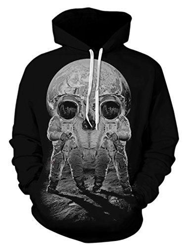 RAISEVERN Women 3D Realistic Digital Print Pullover Hoodie Hooded Sweatshirt M Astronaut
