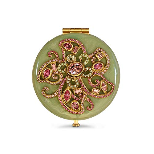 Jay Strongwater Elizabeth Rose Celadon Flower Jeweled Compact Make up Mirror with Swarovski Crystals ()