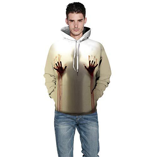 Toimoth Halloween Women Men Ghost 3D Printing Long Sleeve Hoodie Sweatshirt Pullover Top(MulticolorA,3XL)