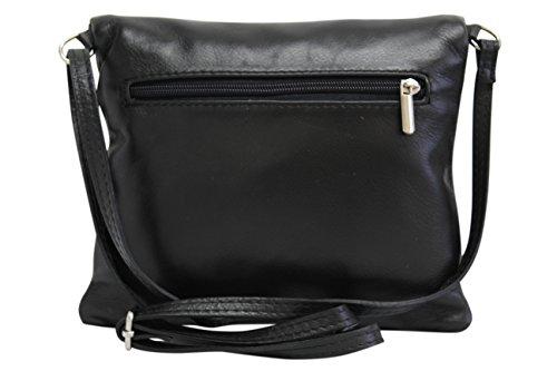 de cuir NL610 pochette bandoulière petit Sac en AmbraModa Noir femme 6F7Cpqwxx
