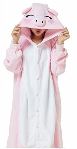 Pig For Teenager Costumes (ABING Halloween Pajamas Homewear OnePiece Onesie Cosplay Costumes Kigurumi Animal Outfit Loungewear,Pink Pig Adult L -for Height)