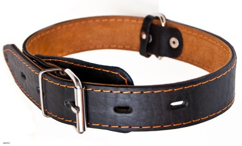 Genuine Thick Leather Collar for Large and XLarge Dogs 20″-25″ Neck Size, 1.5″ Wide, Black, My Pet Supplies