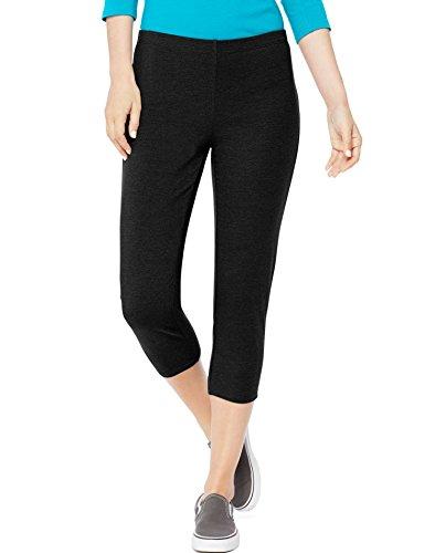 Hanes Womens Stretch Jersey Capris Black