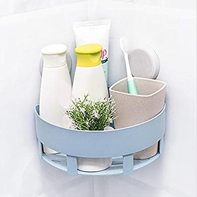 Iusun Plastic Suction Cup Bathroom Kitchen Corner Storage Rack Organizer Shower Shelf Storage Tool