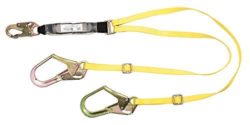 MSA 10072475 Workman Twin Leg Shock-Absorbing Lanyard with LC Harness Connection and Two GL3100 Anchorage Connection, English, 15.34 fl. oz, Plastic, 1