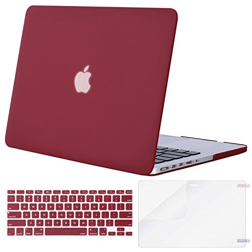 MOSISO Case Only Compatible MacBook Pro (W/O USB-C) Retina 13 Inch (A1502/A1425)(W/O CD-ROM) Release 2015/2014/2013/end 2012 Plastic Hard Shell & Keyboard Cover & Screen Protector, Wine Red