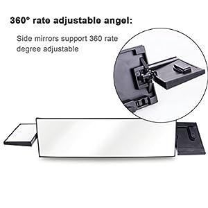 "Rear View Mirror,Huicocy Universal Fit JDM 395mm 15.5"" Wide Rear View Mirror with Two Small Side Mirrors Detachable 360 Rotation Degree (15.5inch, white)"
