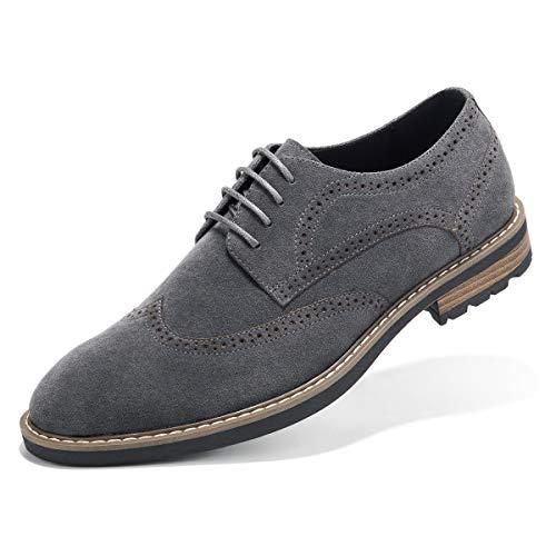Men's Suede Oxfords Dress Shoes Lace-up Wingtip Brogue Casual Shoes Zapatos de Hombre Grey 8.5 ()