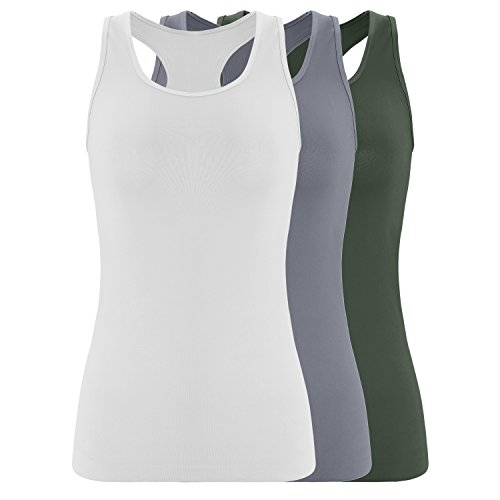 (Ruxia Women's Racerback Tank Tops Seamless Nylon Tops with Scoop Neck Assorted Colors 3 Pack L/XL)