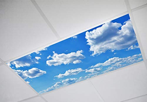 Cloud 001 Fluorescent Light Filters 2'x4' - High Pixel Light Covers for Classroom, Office, Hospital, and Building, Decorative Ceiling, Bright Replacement, Transform Your Lighting to Inspire ()