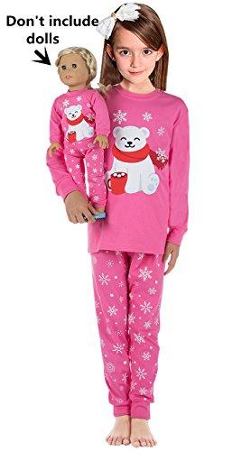 Babyroom Girls Matching Doll&Toddler 4 Piece Long Cotton Christmas Pajamas Kids PJS 10T