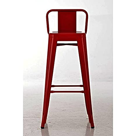 Couleur: Orange CLP Tabouret de Bar en M/étal Mason Tabouret de Bar Industriel Dossier et Repose-Pied Chaise de Cuisine ou Bar Design Confortable