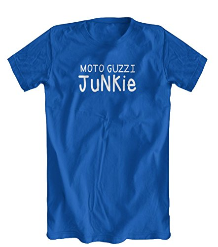 Shirts You Love Moto Guzzi Junkie T-Shirt, Mens Royal Blue, X-Large