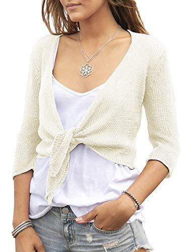 (YeMgSiP Women's Tie Front Shrug Cropped Bolero 3/16 Sleeve Open Cardigans Small Fragrance Short Shawl Beige)