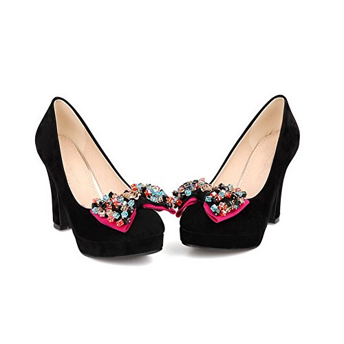 Round Pumps with Closed Heel Solid Womans Beaded and High Black VogueZone009 Suede Toe Bowknot 6R8xEw8qz