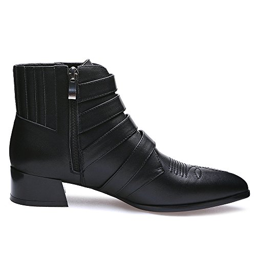 Boot Handmade Toe Women's Sexy Block Seven Buckles Heel Cow Black Leather Ankle Pointed Nine p7vfwv