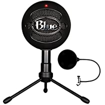 Blue Microphones Snowball iCE Versatile USB Microphone - Black (SNOWBALL iCE Black) with Pop Shield Universal Pop Filter Microphone Wind Screen with Mic Stand Clip