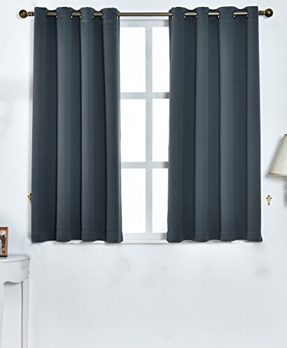 A ANTHEM TEXTILE Darkening Blackout Curtains Window Panel/Drape Blackout for Bedroom Living Room 2panels(52'W x 63'L, Grey)