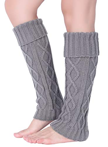 Pareberry Women's Winter Soft Over Knee High Cable Footless Socks Knit Leg Warmers (Light Gray) Cable Knit Leg Warmers