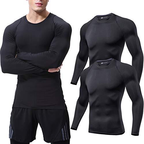 Lavento Men's 2 Pack Compression Baselayer Tops Crewneck Long-Sleeve Dri Fit Undershirts