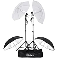 Kshioe 450W Photography Dual Photo Umbrella Lighting Video Continuous Light Kit-Black/Silver &White Umbrella Reflector+ Photo Light Bulb+ Tall Studio Umbrella Flash Strobe Light Stand