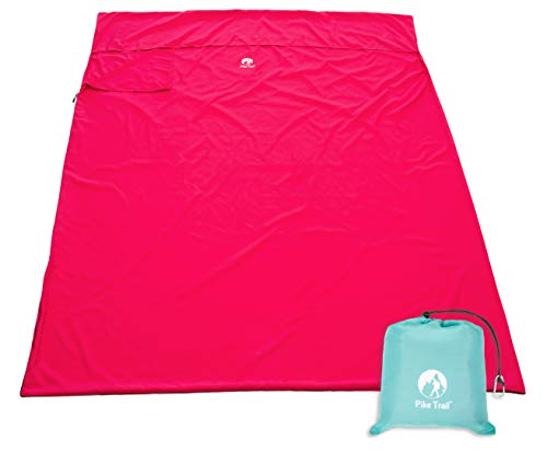 Pike Trail Sleeping Bag Liner – Travel and Camping Sheet, Lightweight and Compact Insert with Full Length Zipper and Guarantee (Bubble Gum Pink, Large, 82