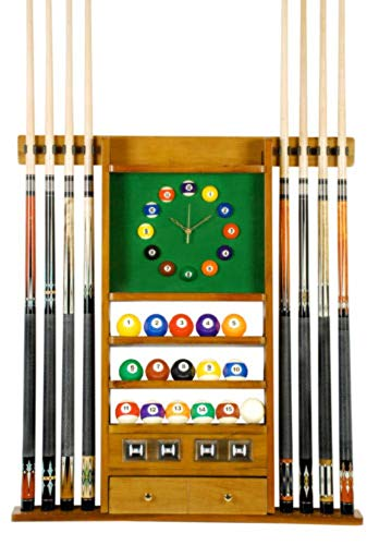Cue Rack Only - 8 Pool - Billiard Stick & Ball Set Wall Rack W Clock Oak Finish