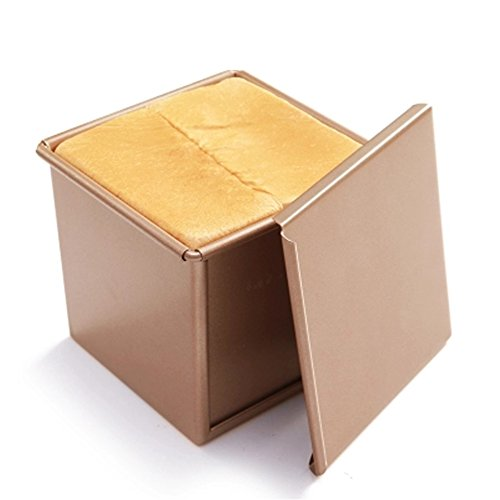 (CANDeal Loaf Pan With Cover/Bread Baking Mould Cake Toast/Non-Stick Toast Box with Lid For 250g Dough, Vented Hole for Rapid Baking, Made from Heavy-gauge Carbon Steel(Golden, Smooth Style))