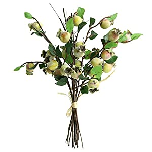 Htmeing Group of 5 Artificial Rosehip Berries Flower Stem Spray Christmas Picks 13″ (Yellow Green)
