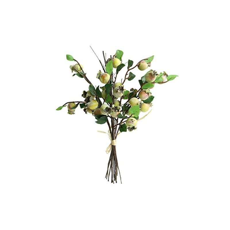 "silk flower arrangements htmeing group of 5 artificial rosehip berries flower stem spray christmas picks 13"" (yellow green)"