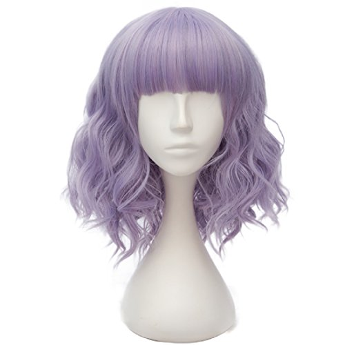 Maxbeauty Short Curly Party Wigs for Women Halloween Event Convention Costume Wig (Pastel Purple-B) ()