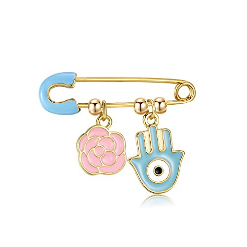 Pin Charm - KINGSIN Cute Enamel Lucky Wishbone Charms Brooch Pin Baby Girl Protection Evil Eye Brooches for Women