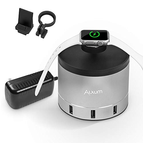Alxum 4 Port USB Charging Stand Dock for Apple Watch, Smartphone, 36W USB Chagrer Station with Phone Holder Charger Stand for iPhone Xs Max,X,XR,8,7,6,5, iWatch 4,3,2,1, Nightstand Mode, Aluminum
