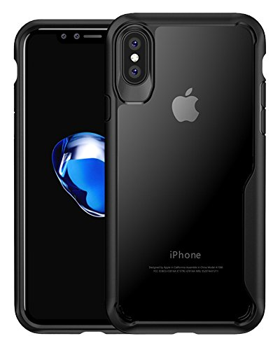Simptech  iPhone X Case with Clear Hard Casing and Reinforced Hard Bumper Frame for Apple iPhone X (2017) (I8-Black)