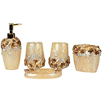 NarwalDate High Grade 5 Pieces Bathroom Accessory Set With Luxury Rose  Ensemble,Retro Golden Resin