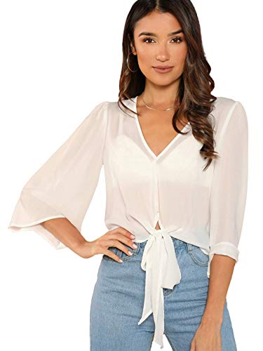 SheIn Women's V Neck Tie Front Half Sleeve Sheer Crop Pullover Blouse Top Large White ()