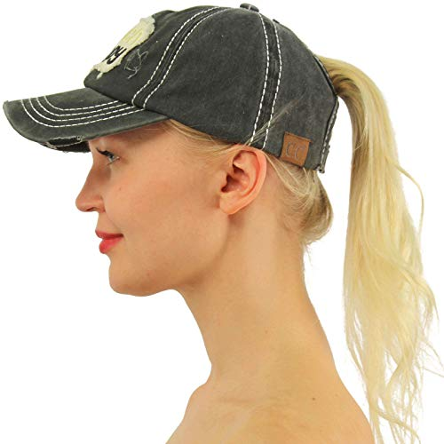 (C.C Ponytail Messy Buns Trucker Ponycaps Plain Baseball Visor Cap Dad Hat Distressed Beach Happy Black)