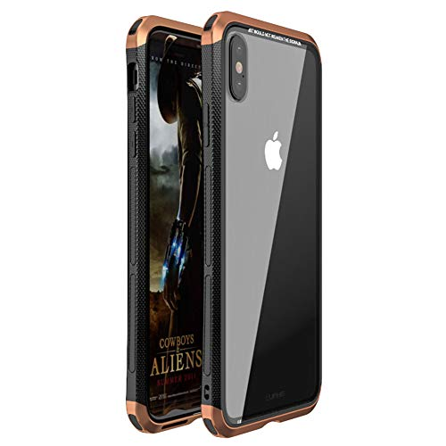 Transparent Metal - iPhone Xs Max Case, LWGON Luxury Aluminum Metal Frame + Transparent Tempered Glass PC Back Triple Cover case for iPhone Xs Max (3Glass Copper)