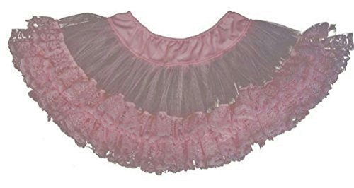 Popcandy Cinema Secrets Pink Lace Trimmed Petticoat Standard up to Size 12 (Halloween Jester Face Paint)