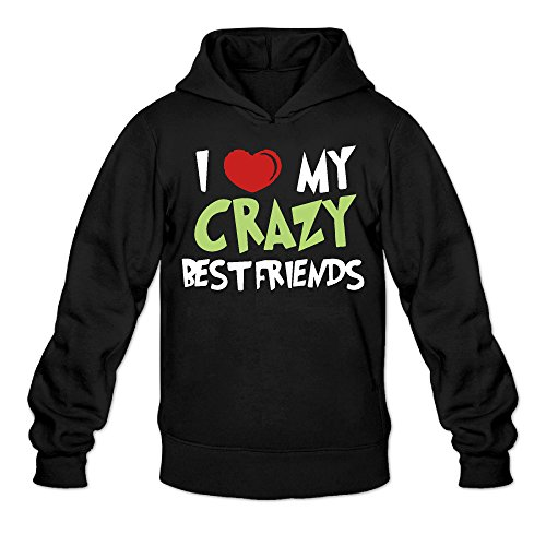 I Love My Crazy Best Friends Classic Men's Hooded Sweatshirts Black M