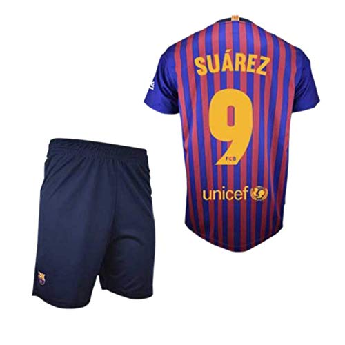 Maglie e Pantaloni Set Prima Squadra FC. Barcelona 2018-2019 - Replica Ufficiale con Licenza - Cresta 9 Suarez - Bambino Taglia 10 Anni - Dimensione Seno 43.5 - Lungo Totale 59 - Lungo Manica 16 cm. Roger' s